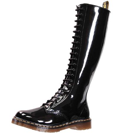 20-eyelet black patent boots