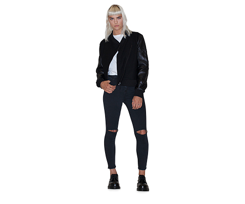 WOMEN'S ASYMMETRIC BOMBER JACKET