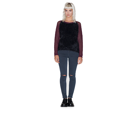 WOMEN'S FUZZY BODY SWEATER